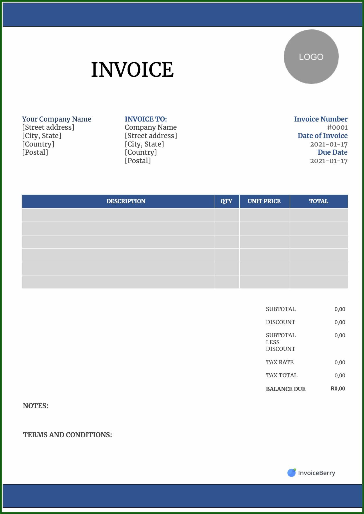 Free Microsoft Word Invoice Template Uk