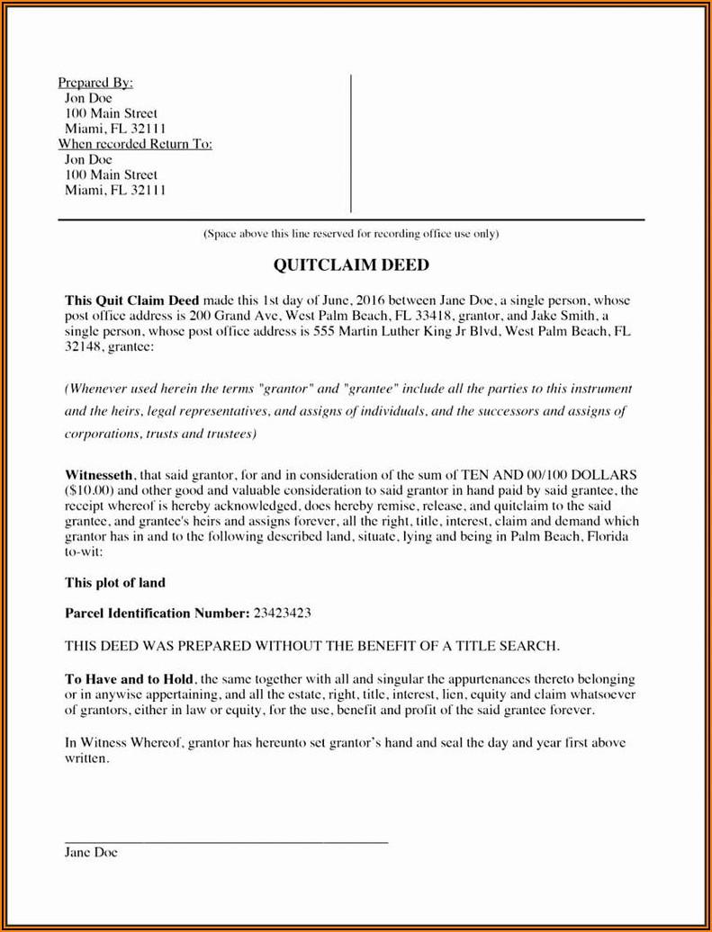 Free Printable Quit Claim Deed Form Florida