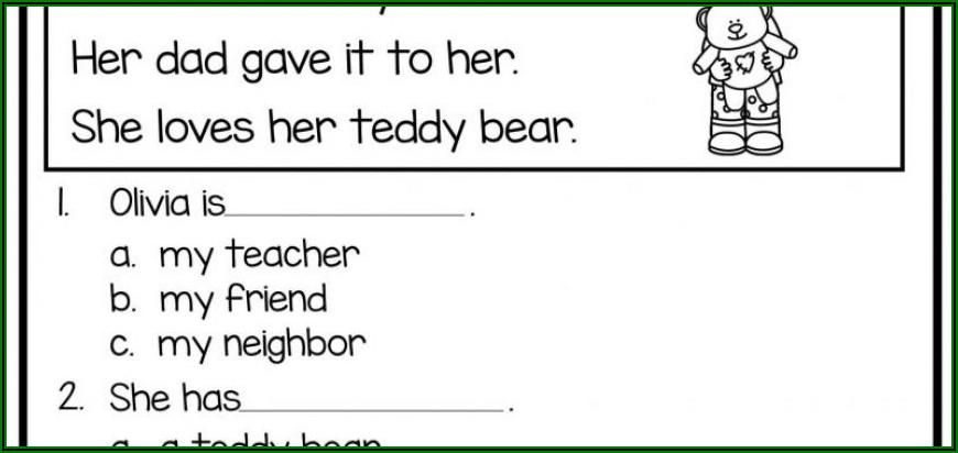Free Printable Worksheet For Kindergarten Reading