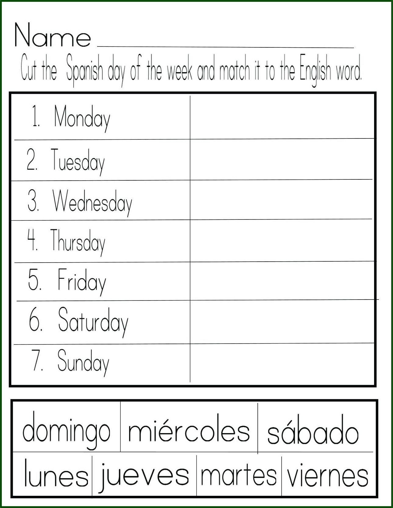 Free Spanish Worksheets Numbers 1 20