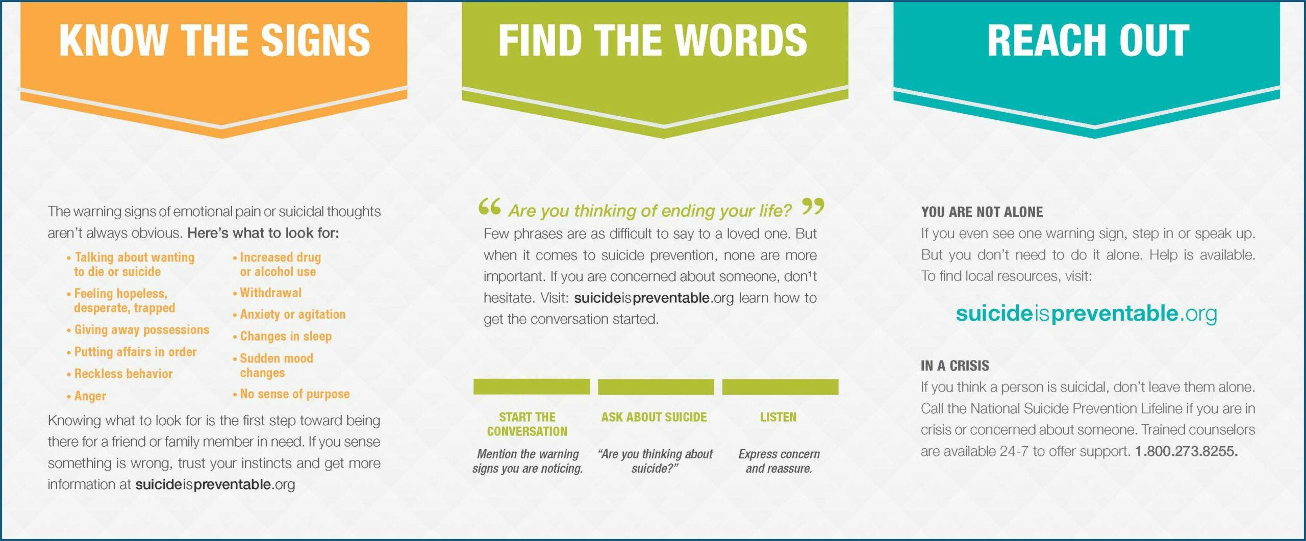 Free Suicide Prevention Brochures