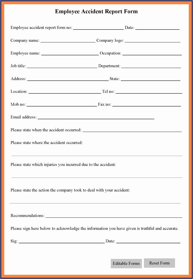 Free Workplace Incident Report Form Template