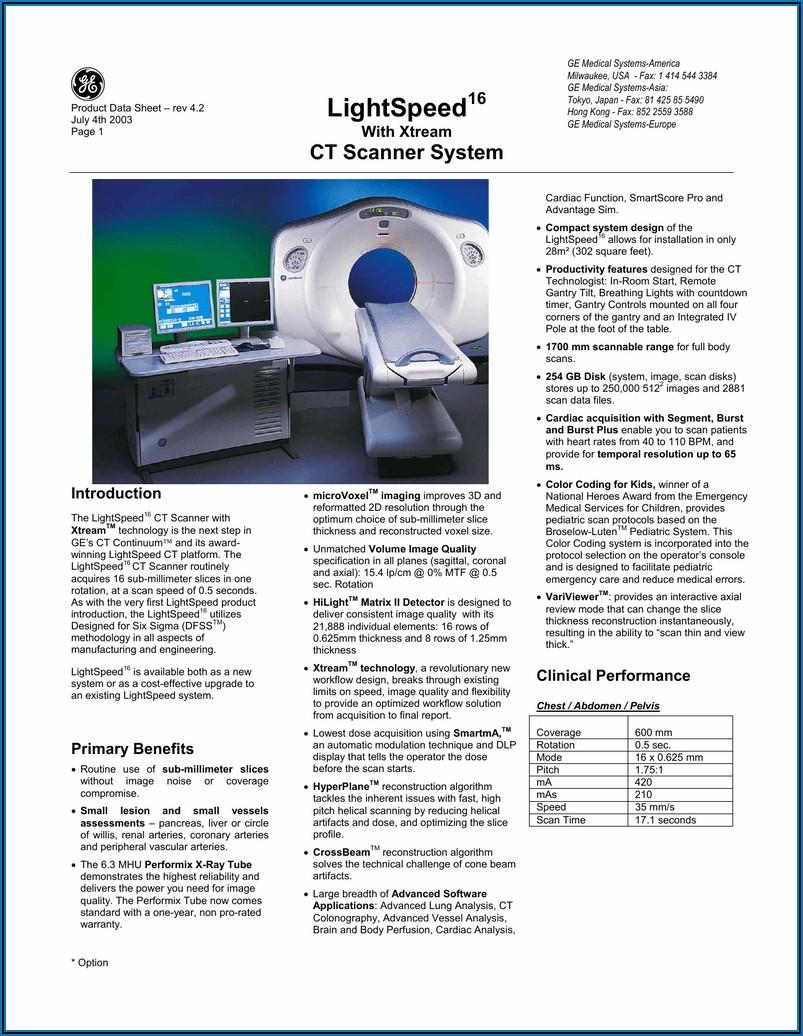 Ge Lightspeed 16 Slice Ct Scanner Brochure