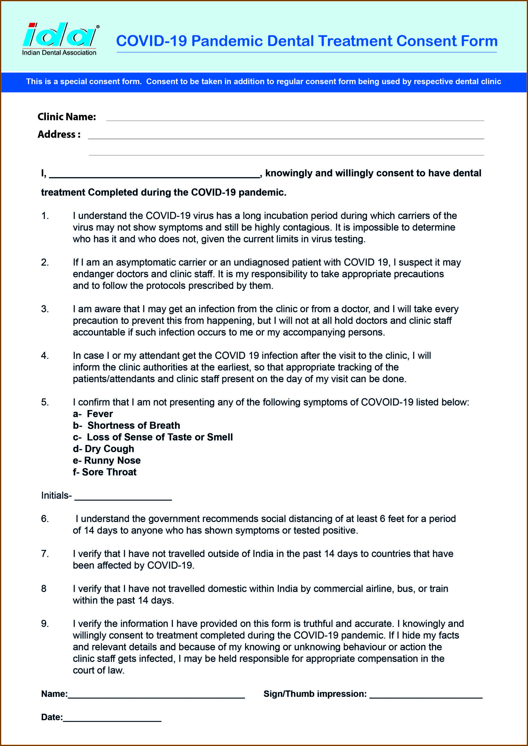General Dental Treatment Consent Form Covid 19 Pandemic
