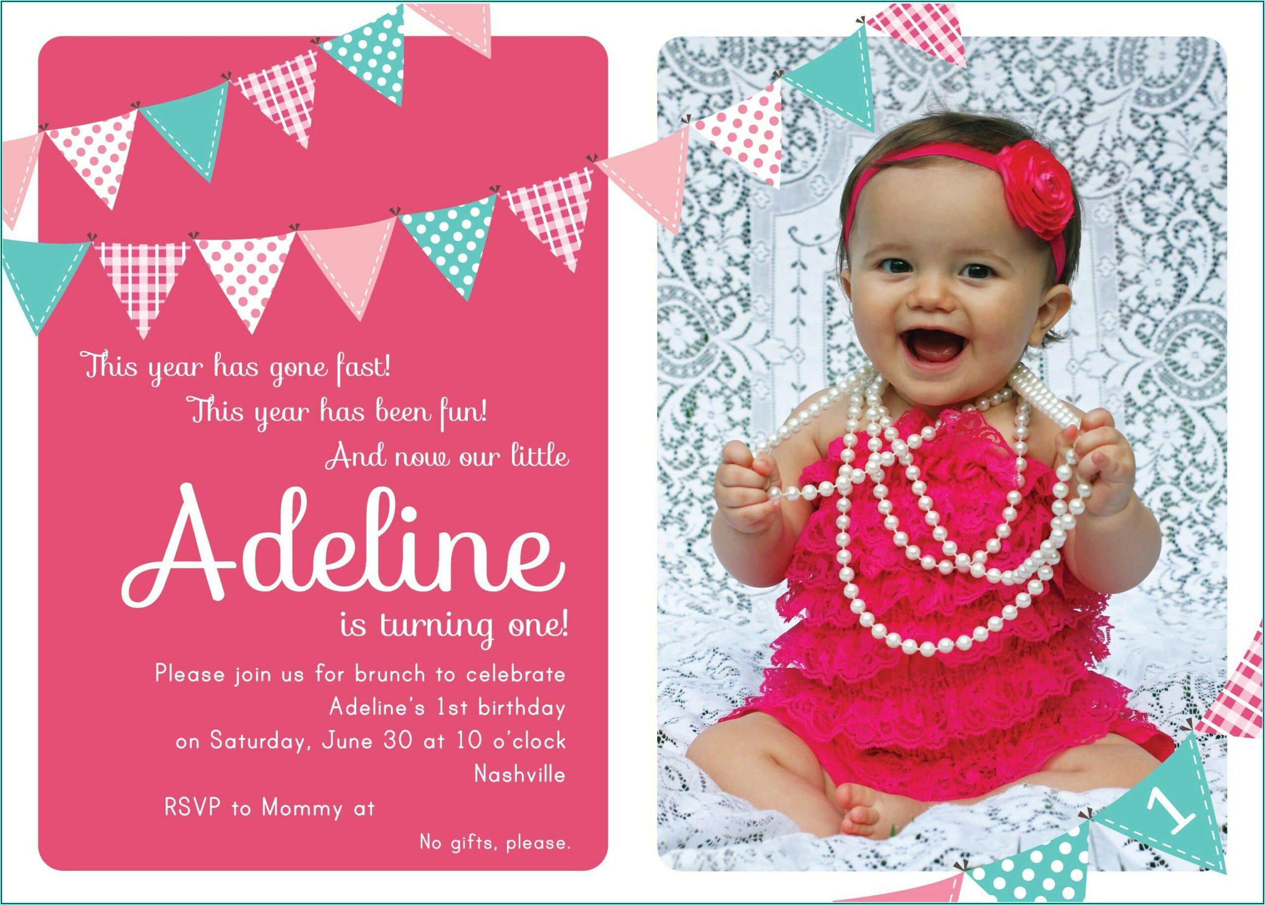 Girl 1st Birthday Invitations Wording