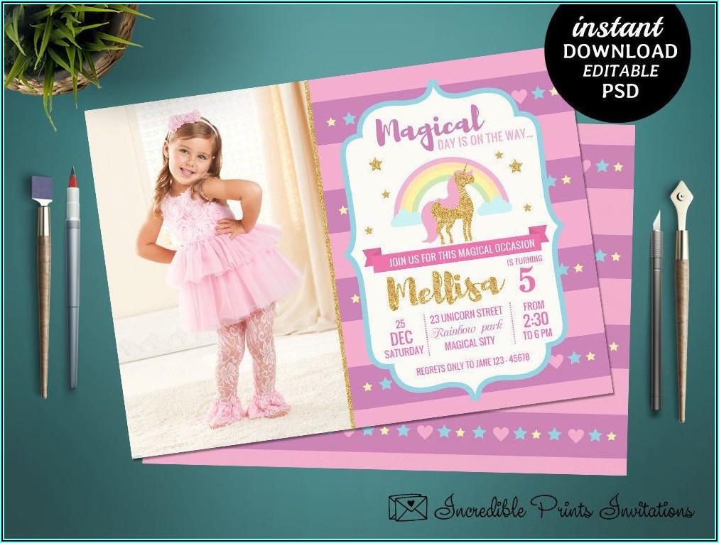 Girl 5th Birthday Invitation Template