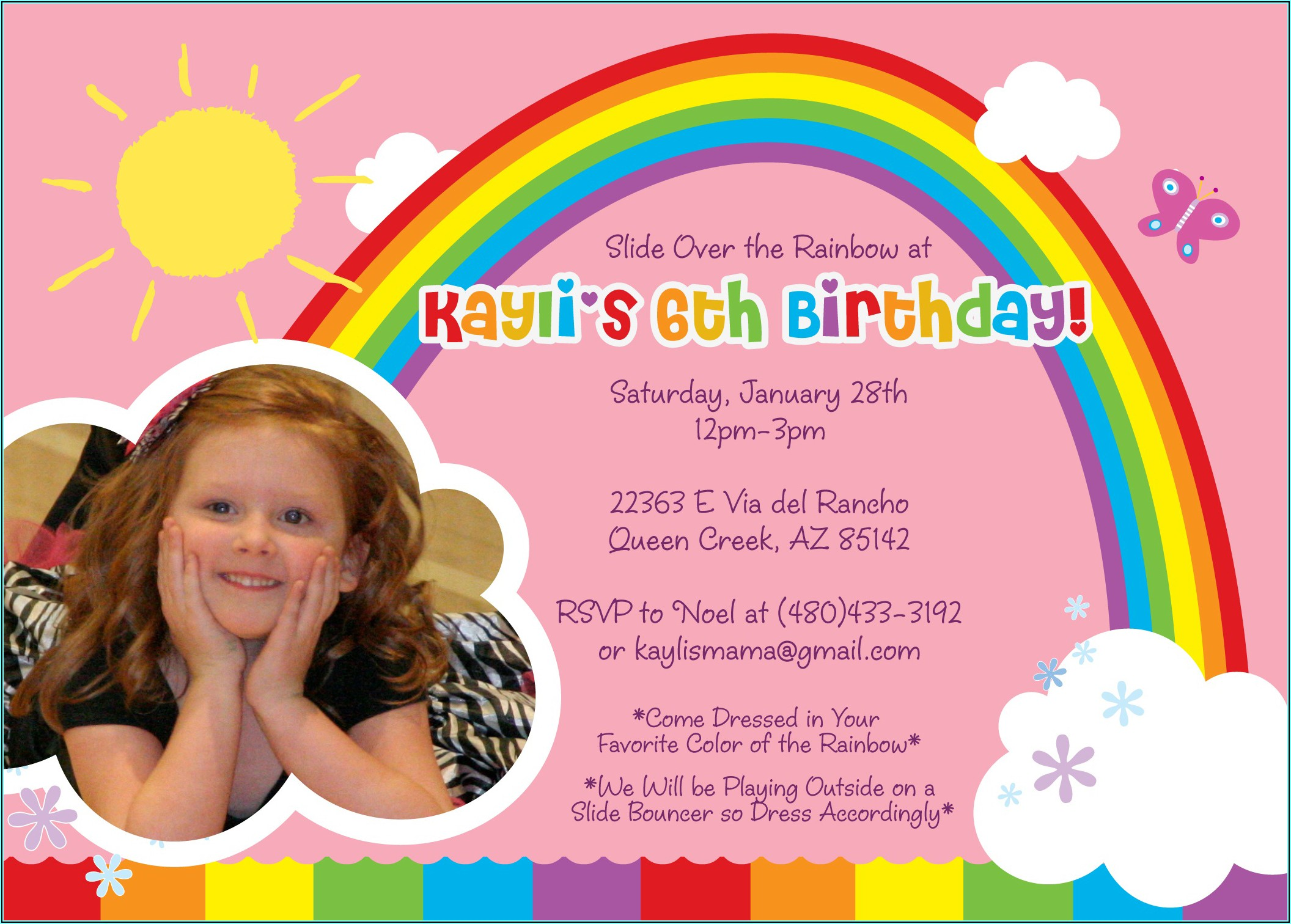Girl 5th Birthday Party Invitation Wording