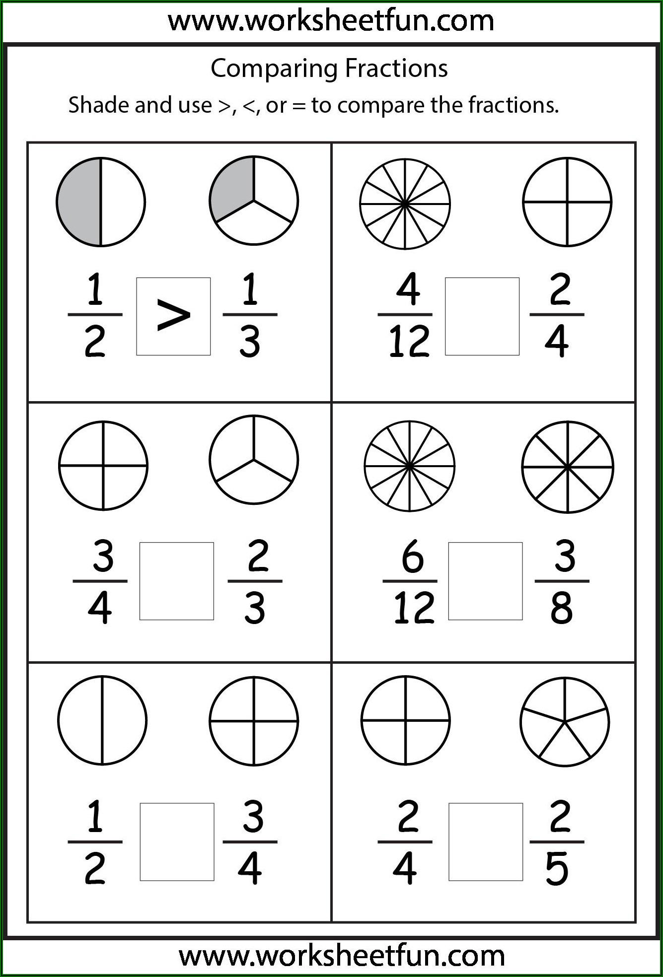 Grade 4 Worksheet Fractions