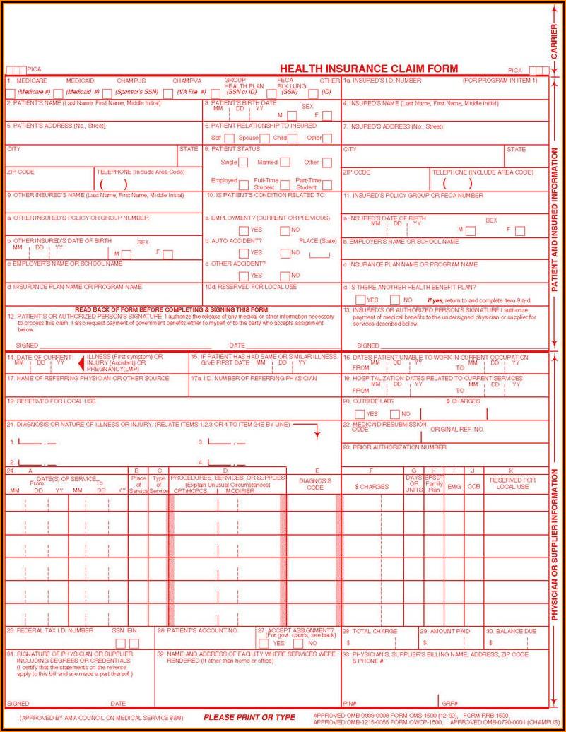 Health Insurance Claim Form 1500 Printable