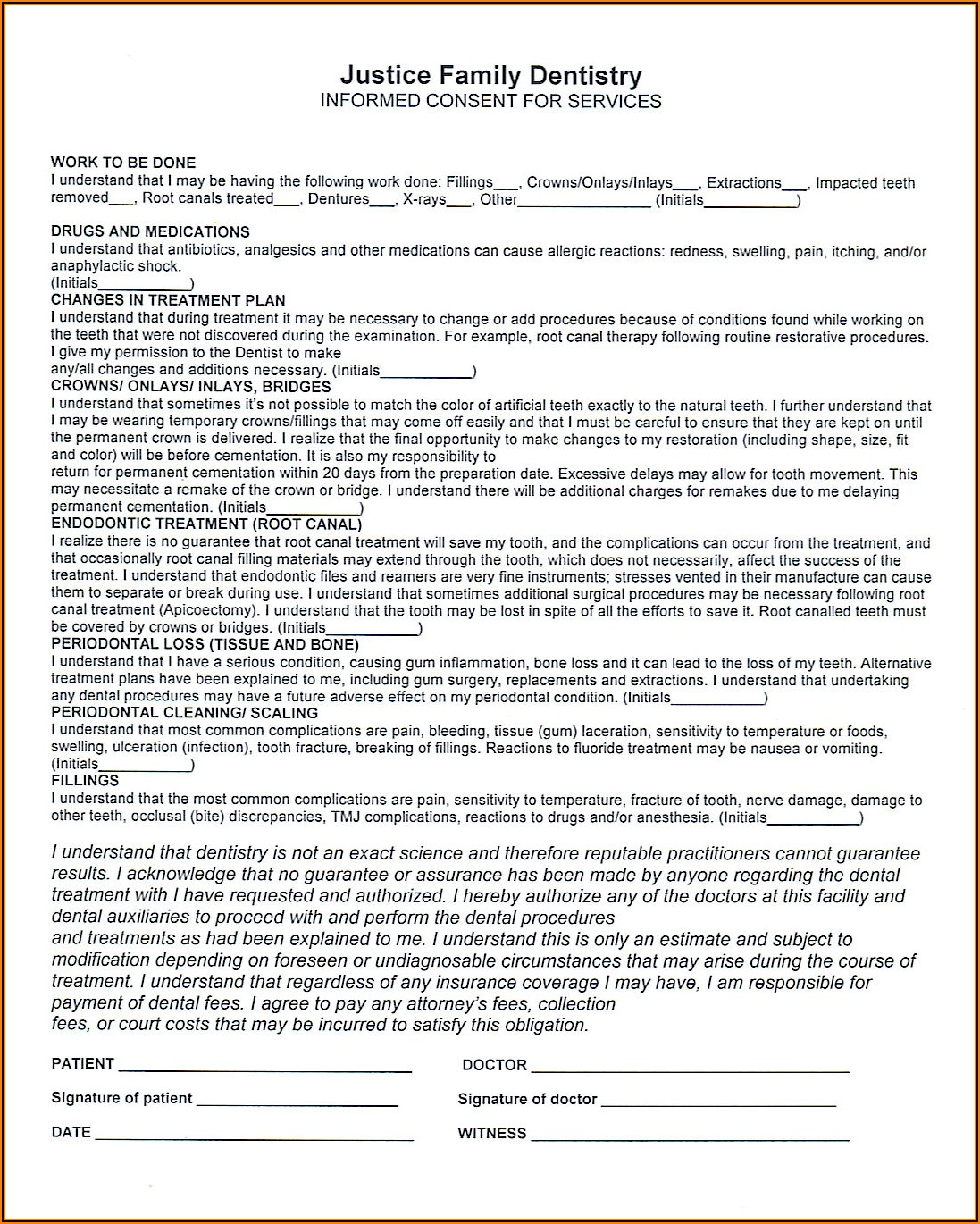 Hipaa Patient Consent Form Dental