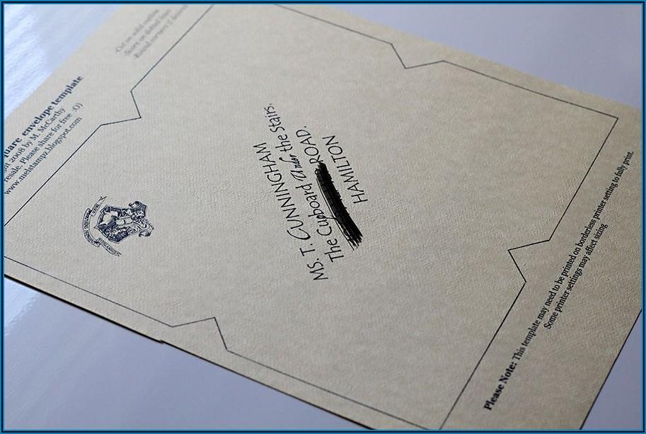 Hogwarts Acceptance Letter Envelope Template