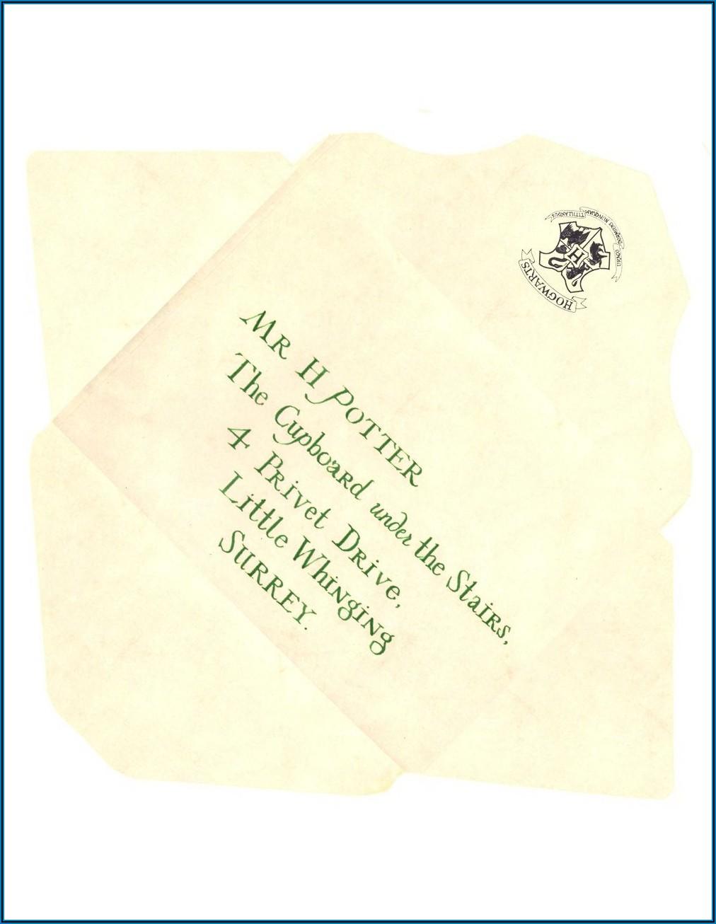Hogwarts Letter Envelope Printable