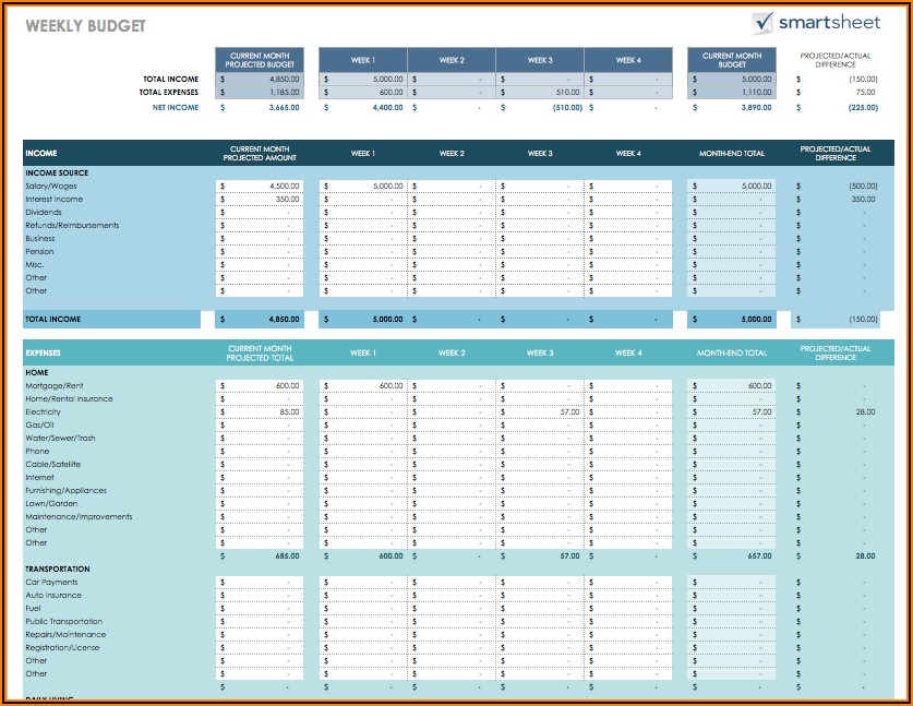Home Expenses Spreadsheet Free Download