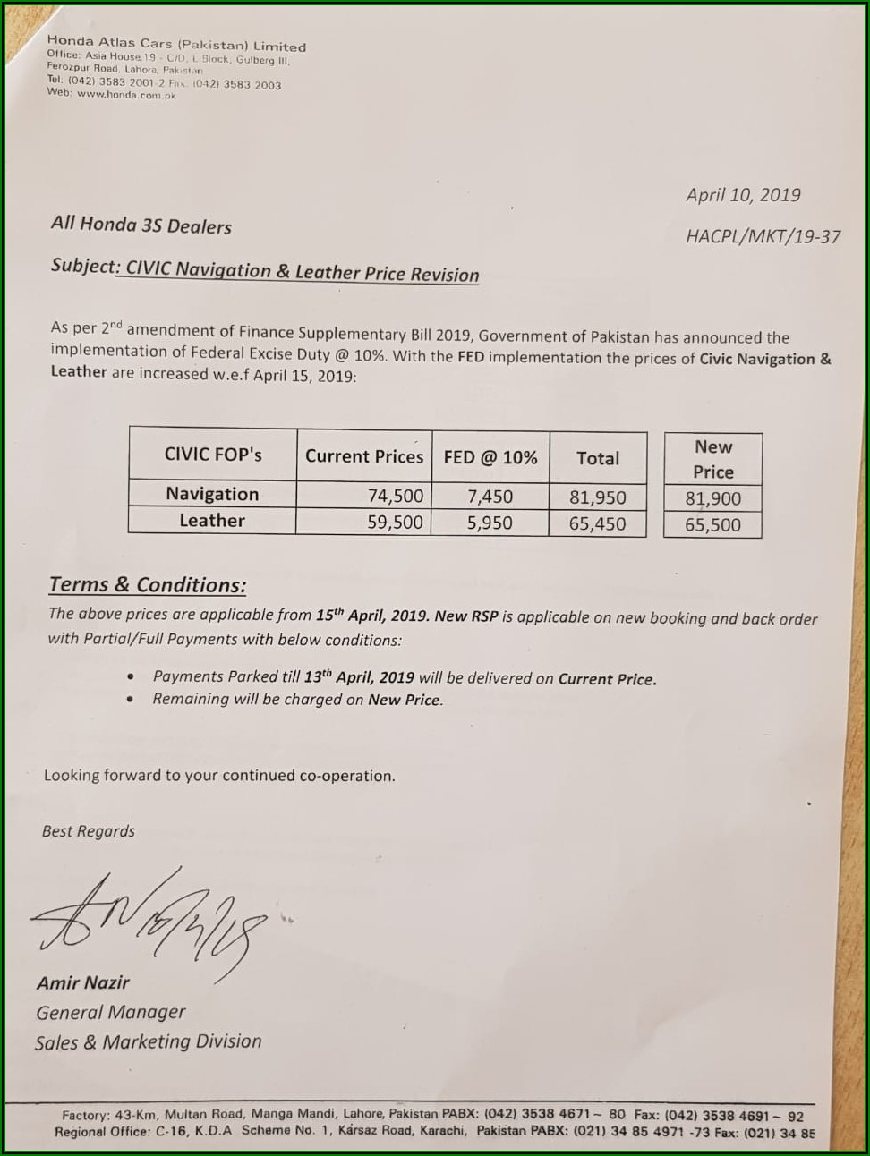 Honda Civic 2018 Invoice Price In Pakistan