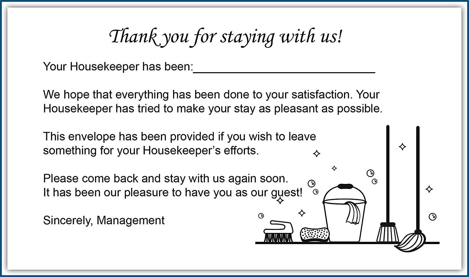 Hotel Housekeeping Tip Envelopes