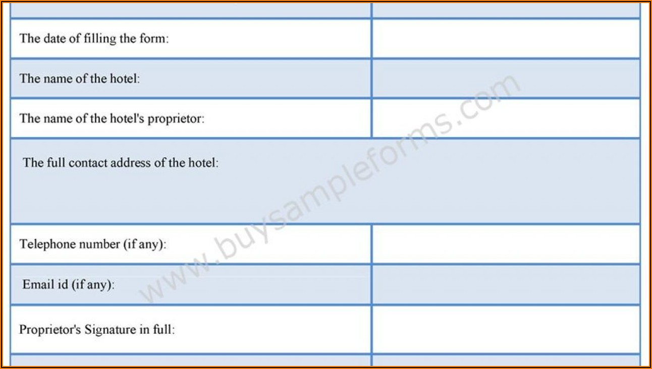 Hotel Registration Form Sample