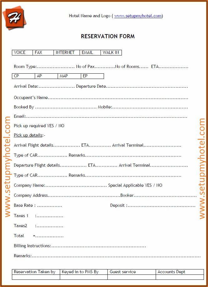 Hotel Reservation Form Sample