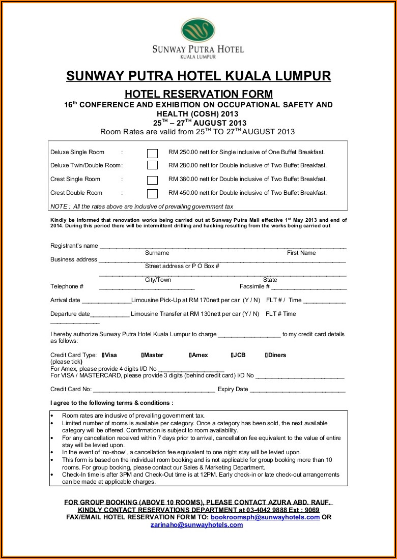 Hotel Reservation Form Template Doc