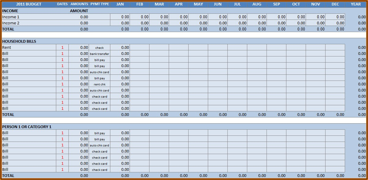 Household Budget Spreadsheet Free Download