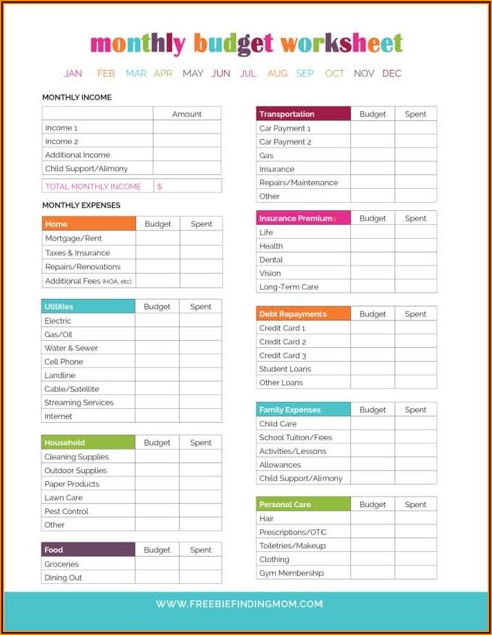 Household Budget Template Free Printable