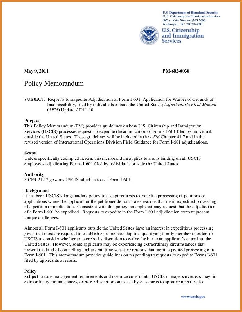 Immigration Form 1 601