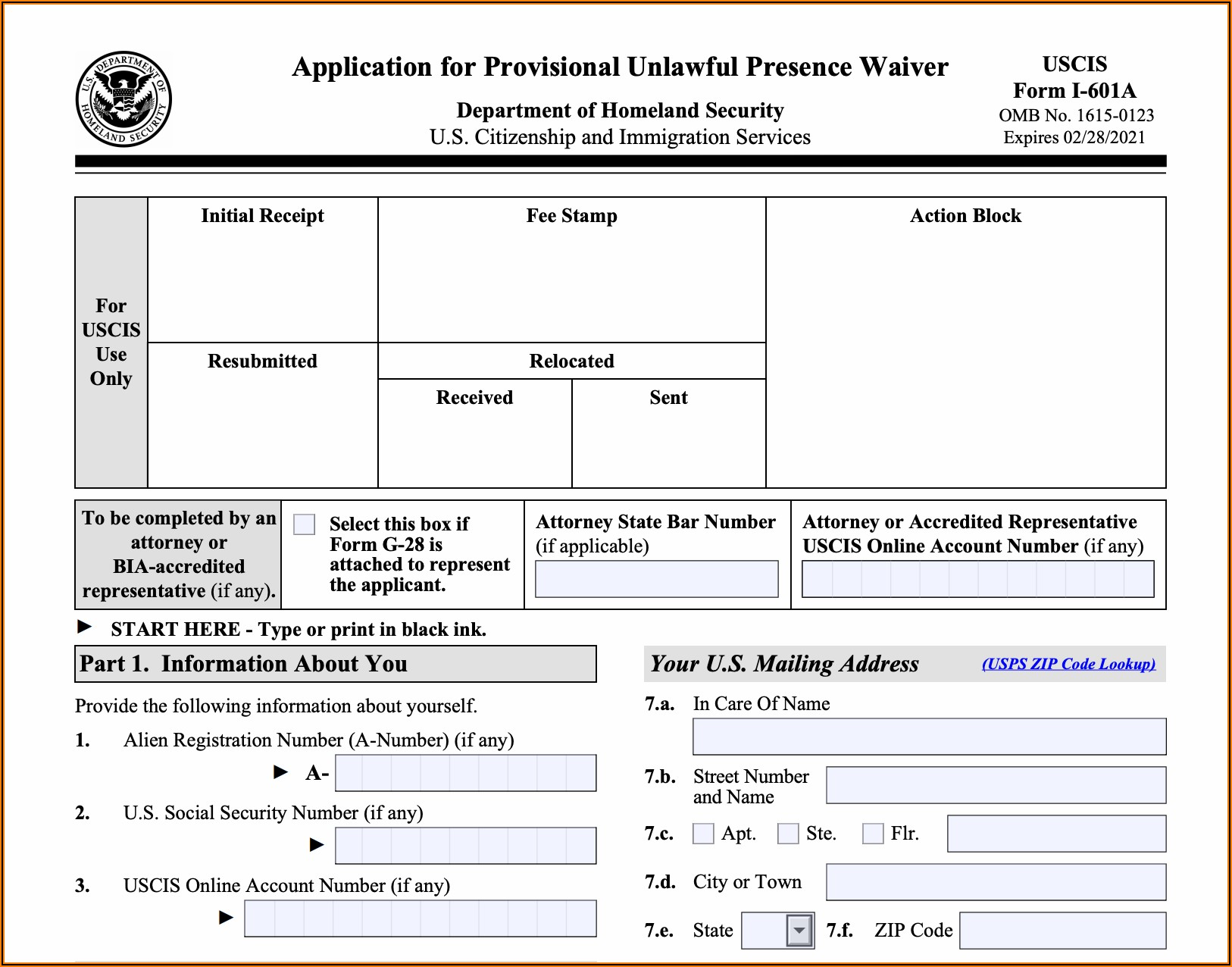 Immigration Form 601a Instructions