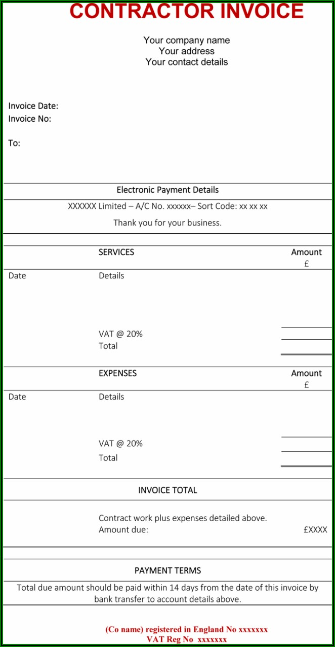 Independent Contractor Invoice Templates
