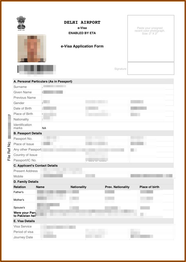 India Visa Application Form For Malaysian