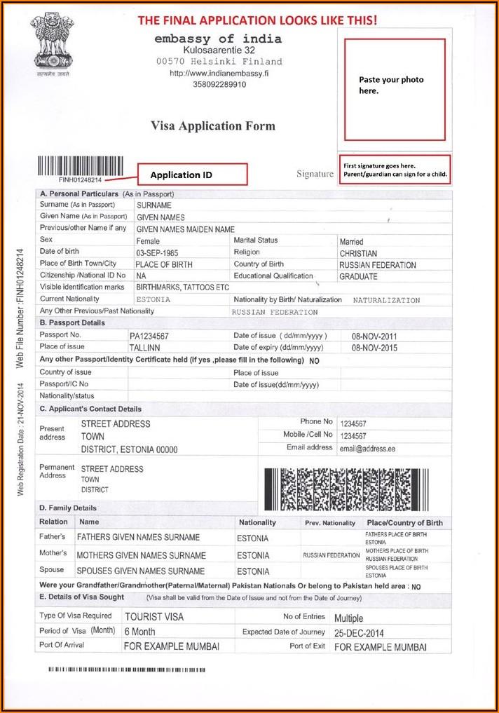 Indian Visa Application Form Sample
