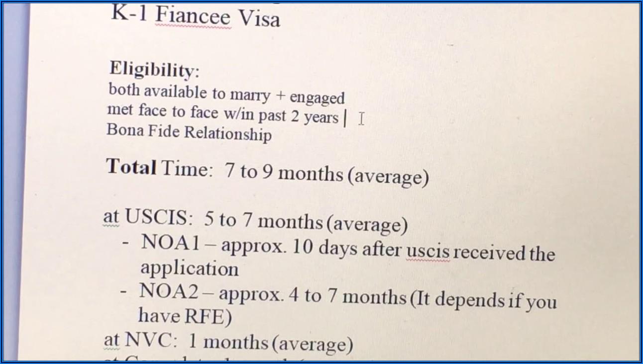 K1 Visa Processing Time 2018