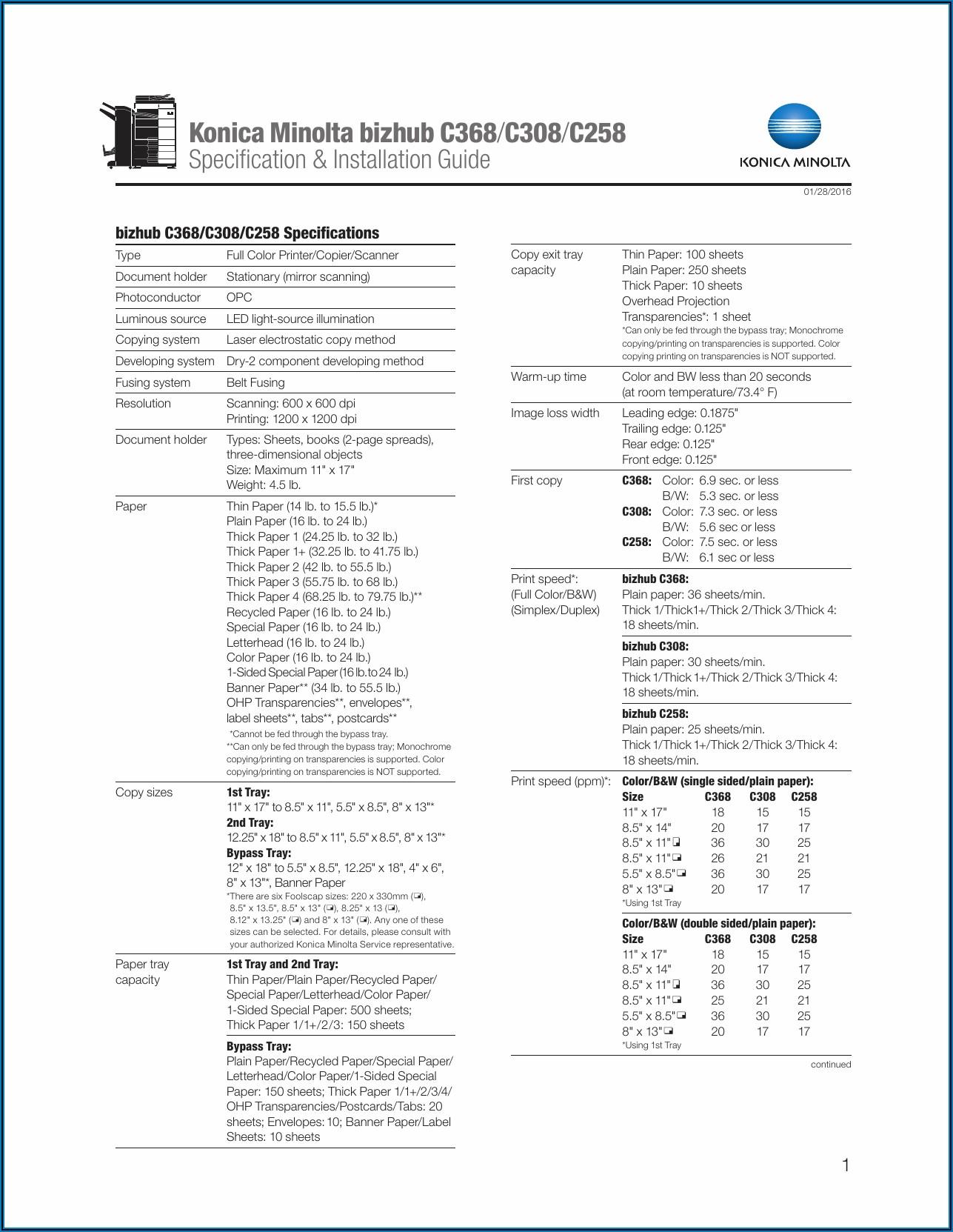 Konica Minolta C258 Spec Sheet
