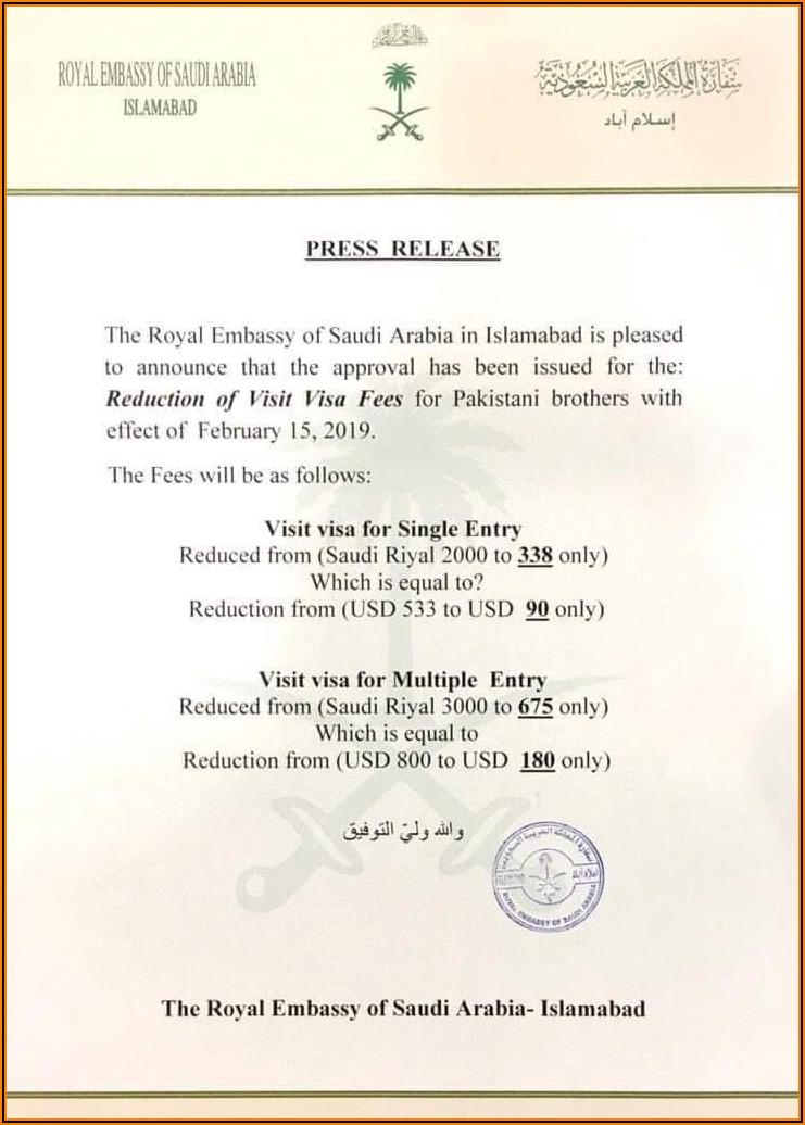 Ksa Visa Fees For Pakistan