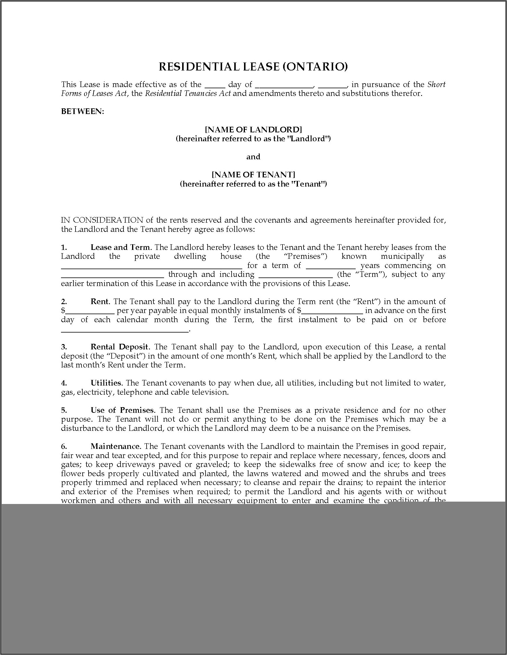 Landlord And Tenant Agreement Forms Ontario