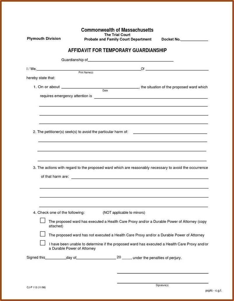 Legal Guardian Form Ontario