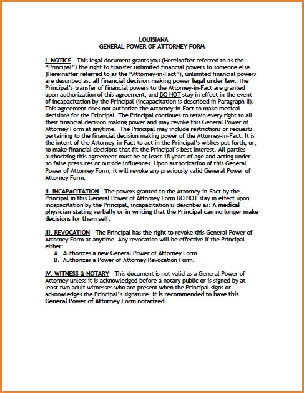 Louisiana Vehicle Power Of Attorney Form