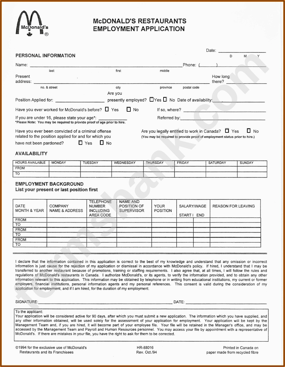 Mcdonalds Application Form Pdf