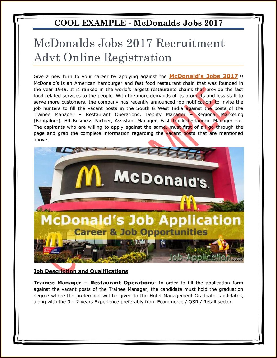 Mcdonalds Application Form Uk Pdf