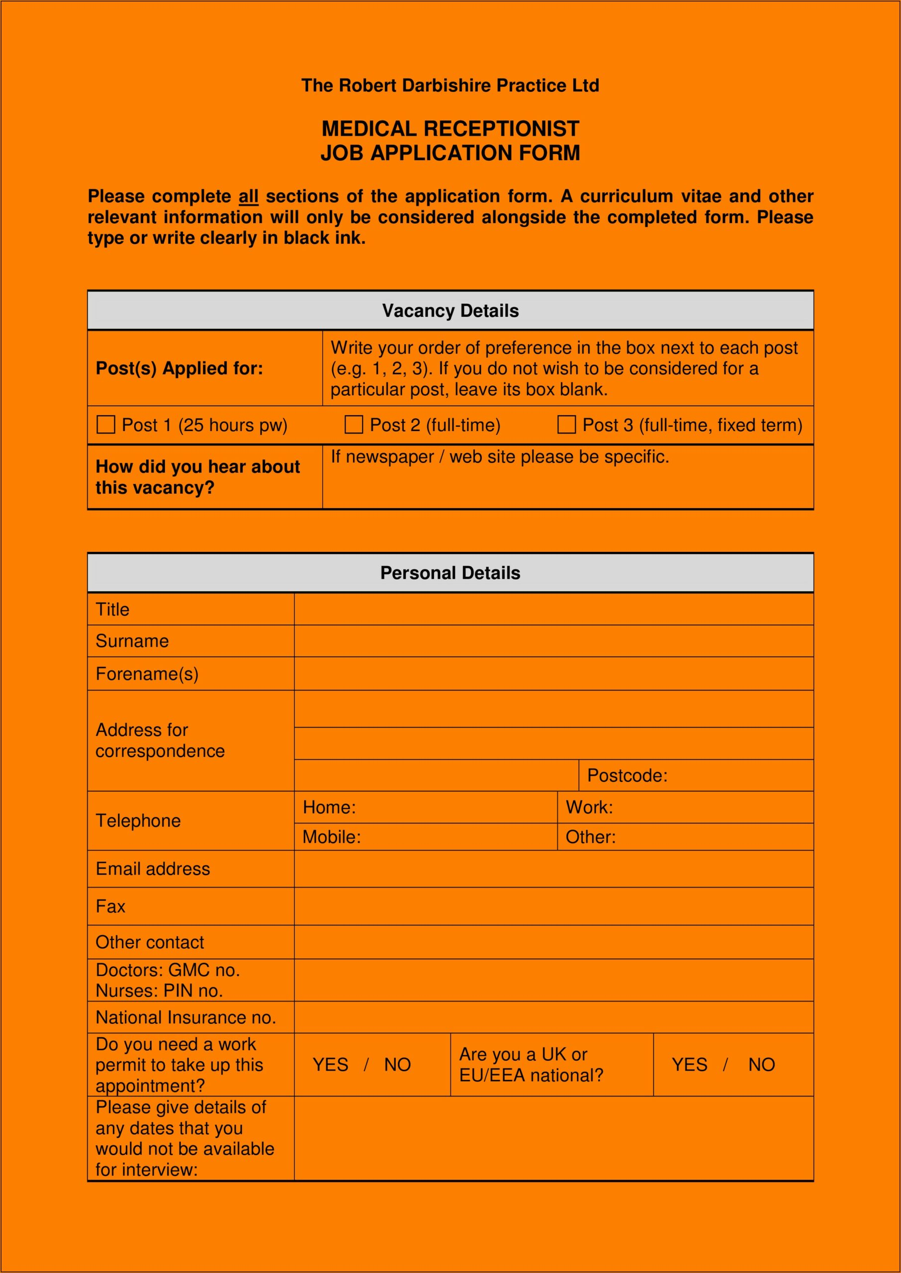 Medical Receptionist Job Application Form