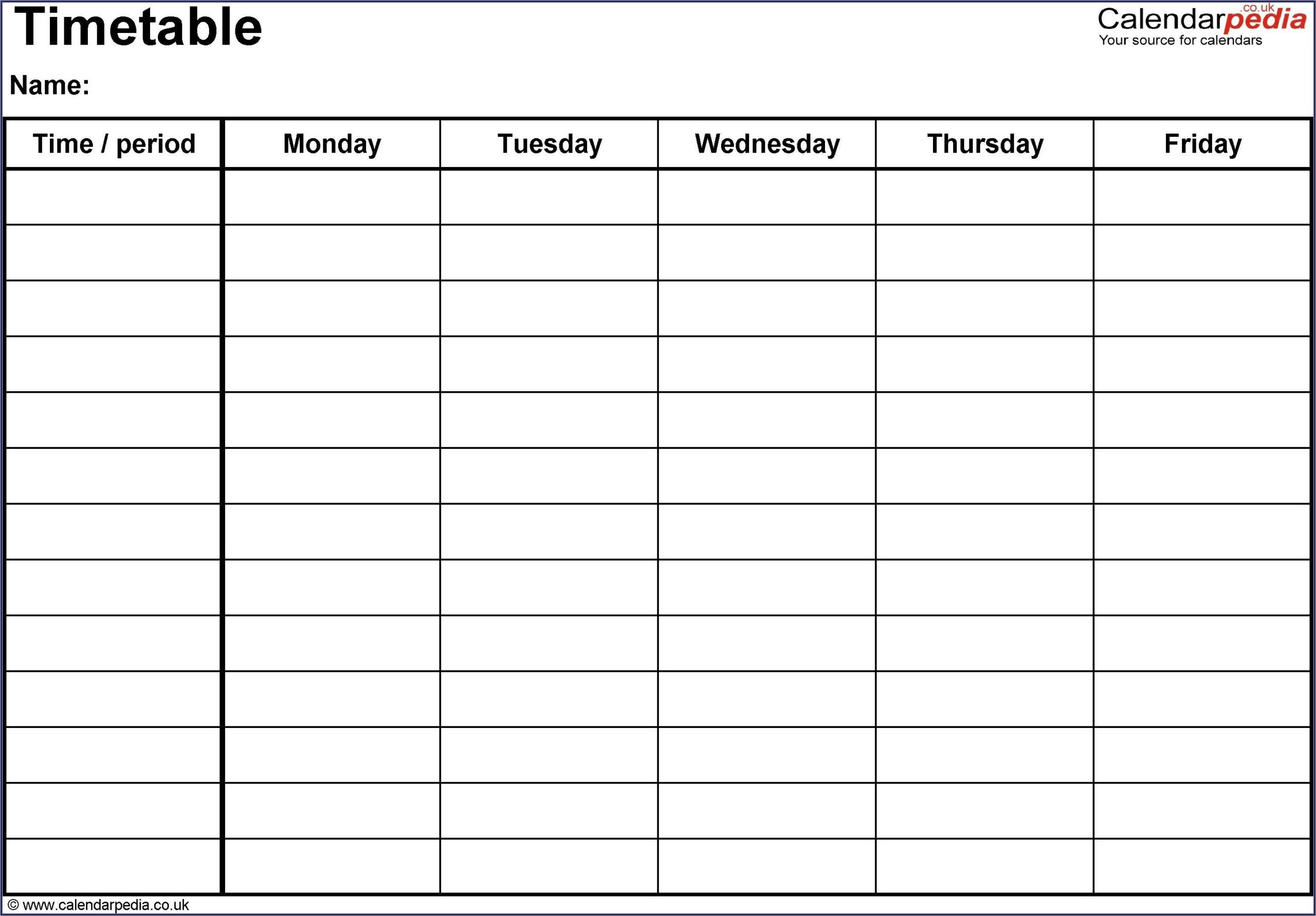 Microsoft Word Schedule Template