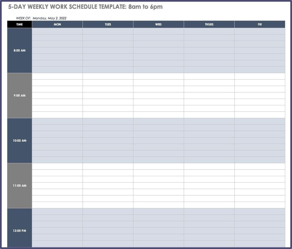 Microsoft Word Weekly Work Schedule Template