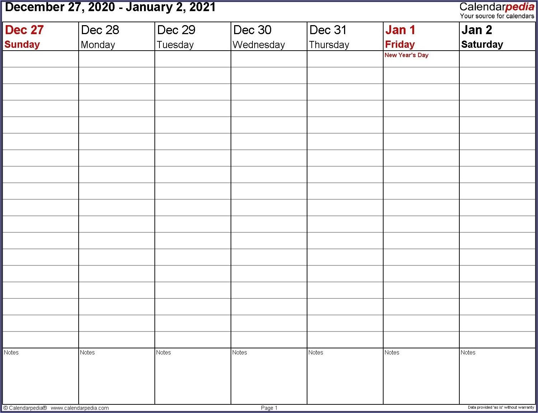 Microsoft Word Work Week Calendar Template