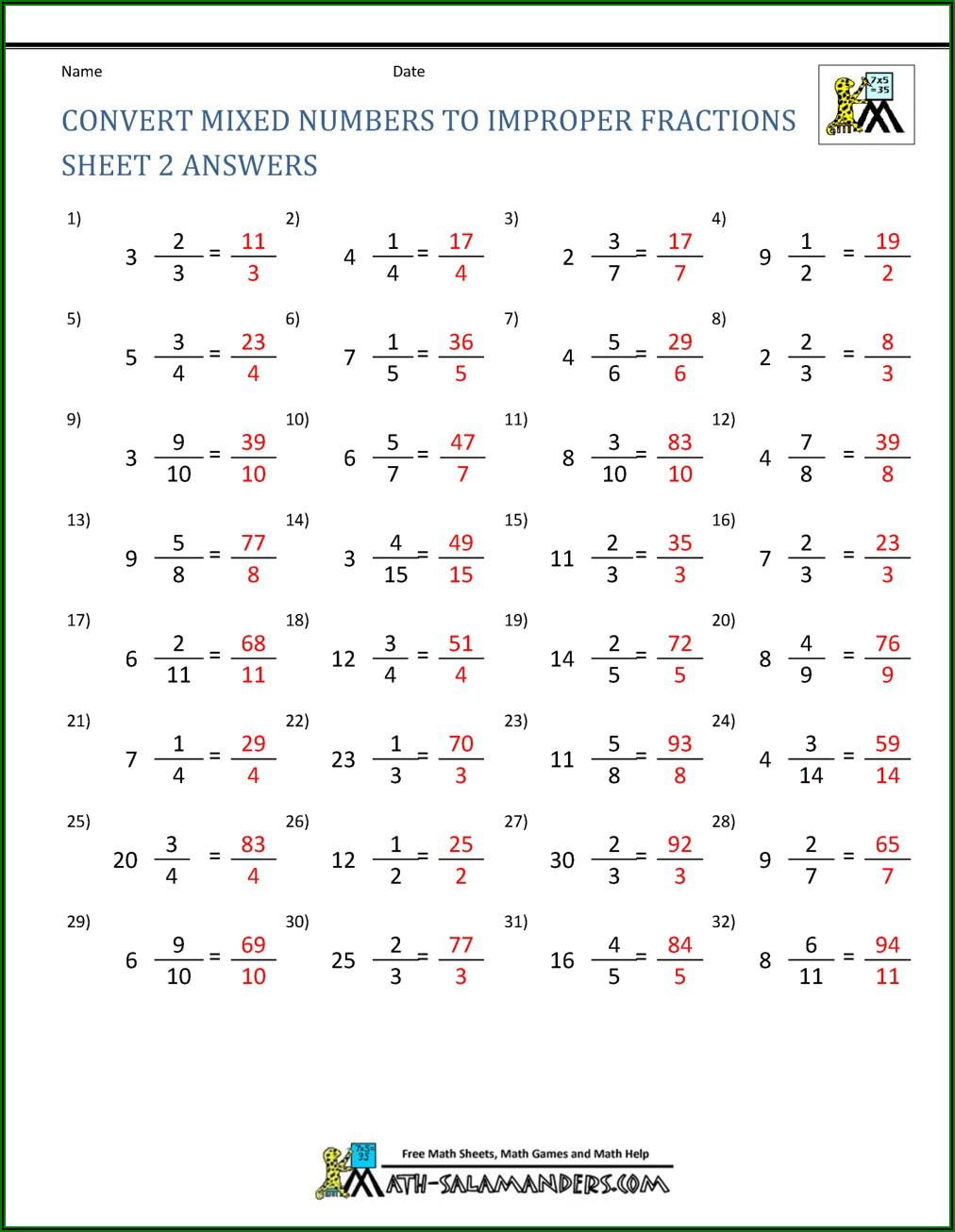 Mixed Number To Improper Fraction Worksheet Grade 4