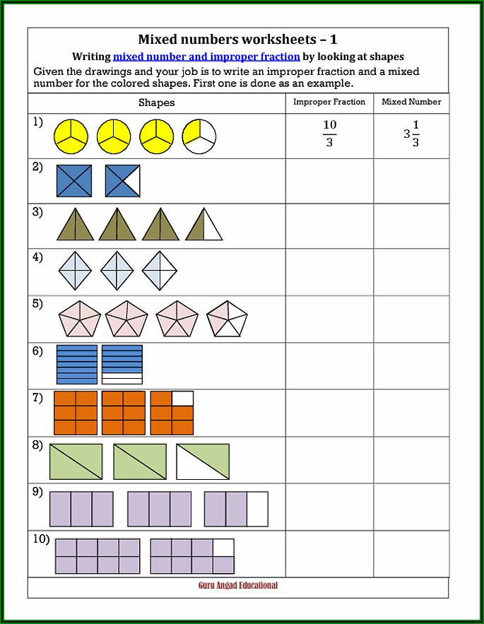 Mixed Numbers To Improper Fractions Worksheet With Pictures