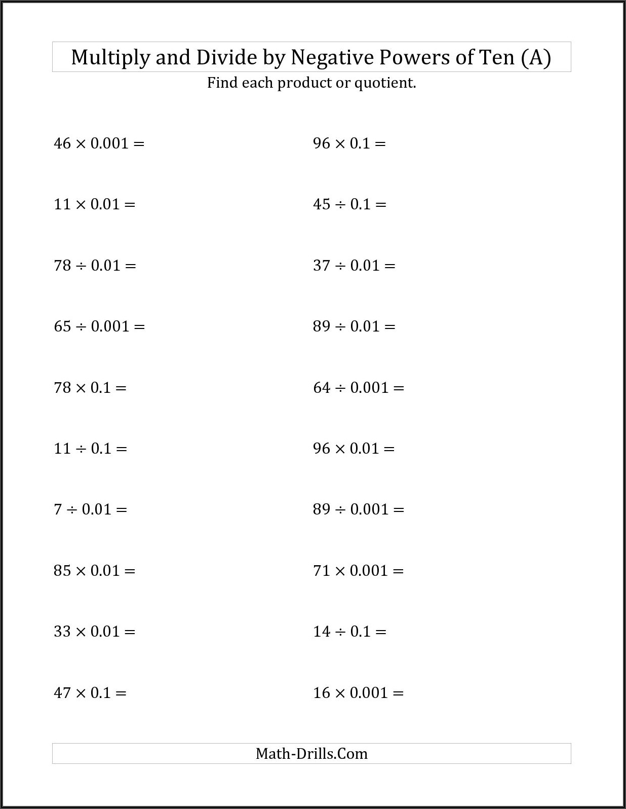Multiplying And Dividing Positive And Negative Numbers Worksheet Answers
