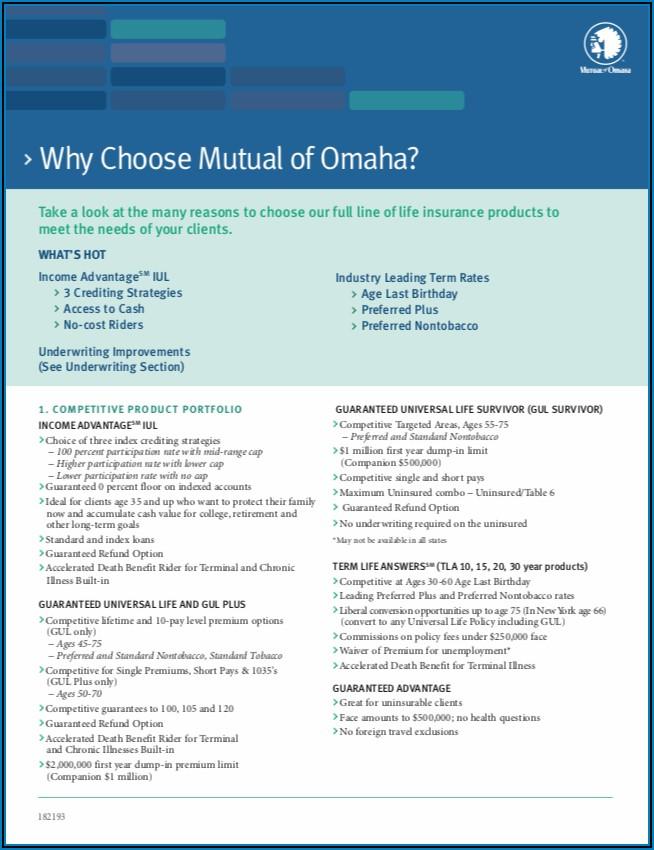 Mutual Of Omaha Living Promise Brochure Pdf