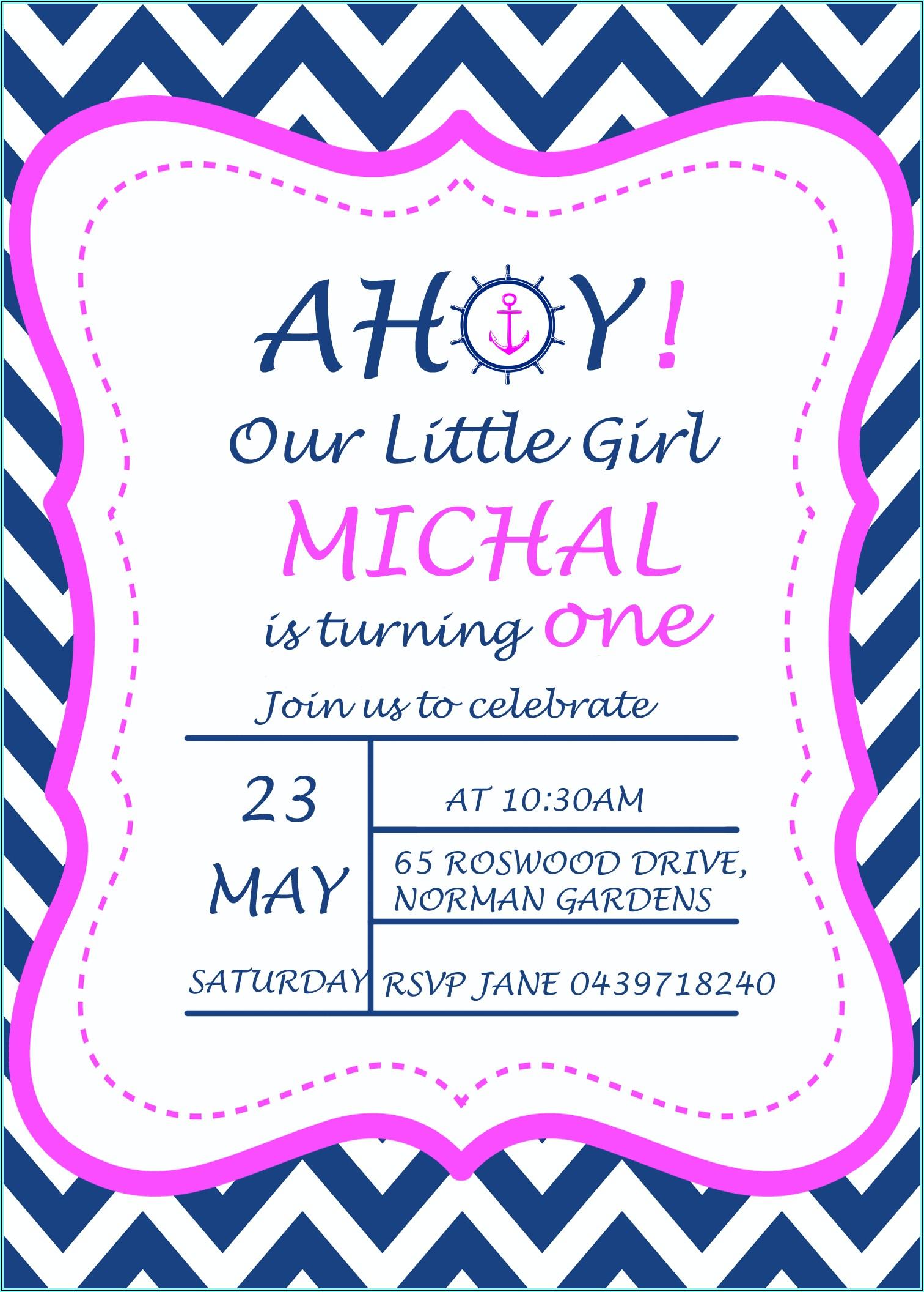 Nautical Girl First Birthday Invitations