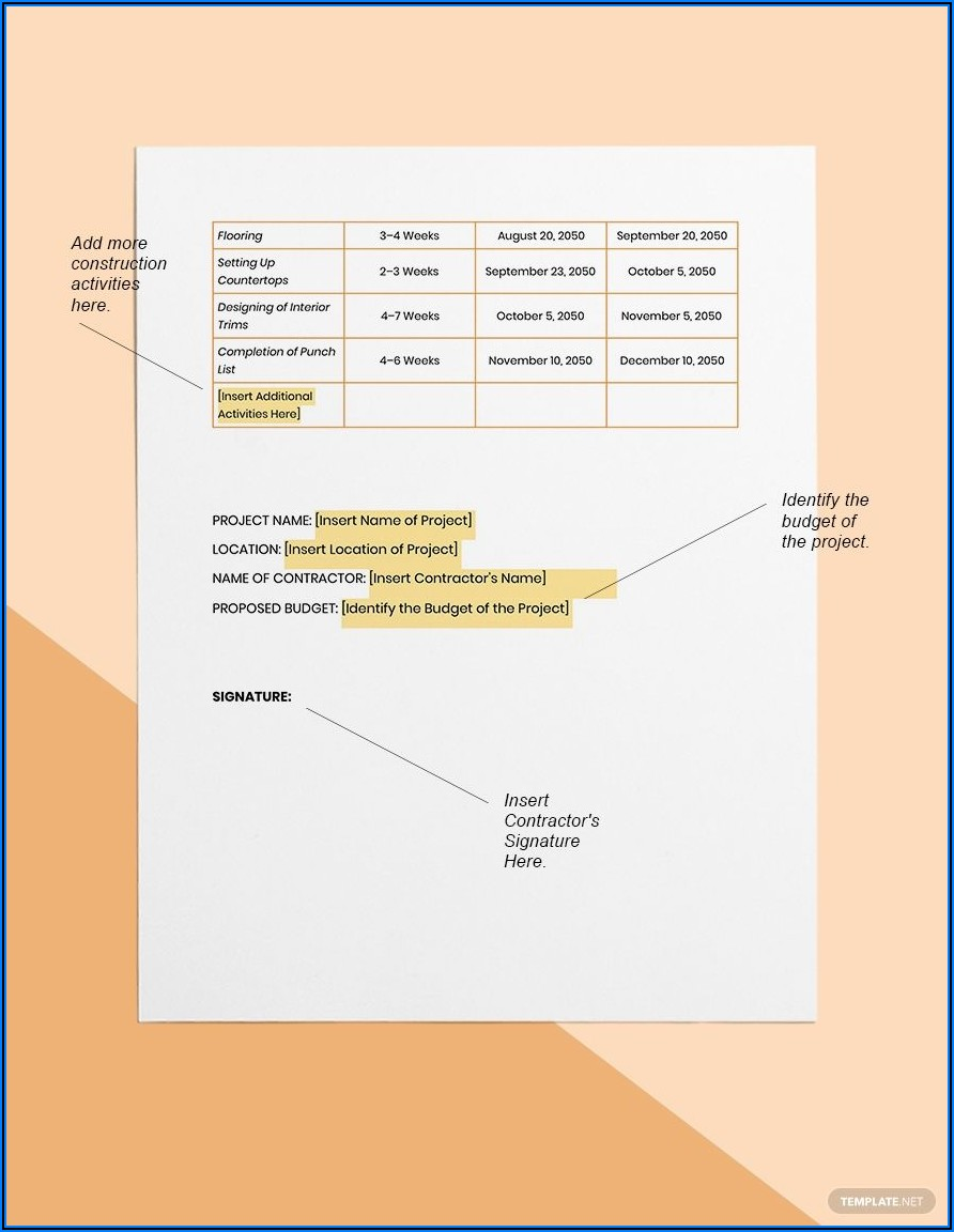 New Home Construction Timeline Template