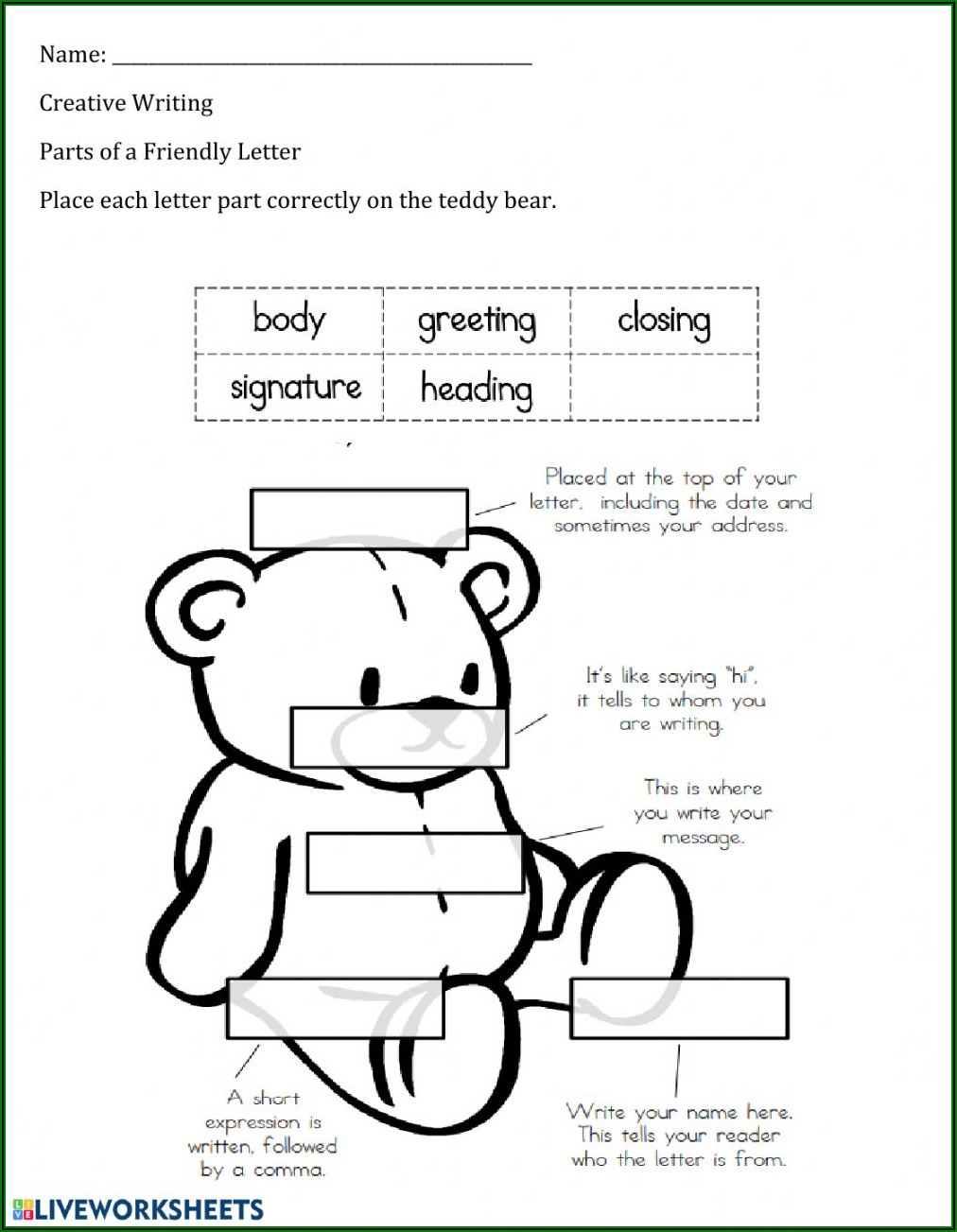 Parts Of A Friendly Letter Worksheet Pdf