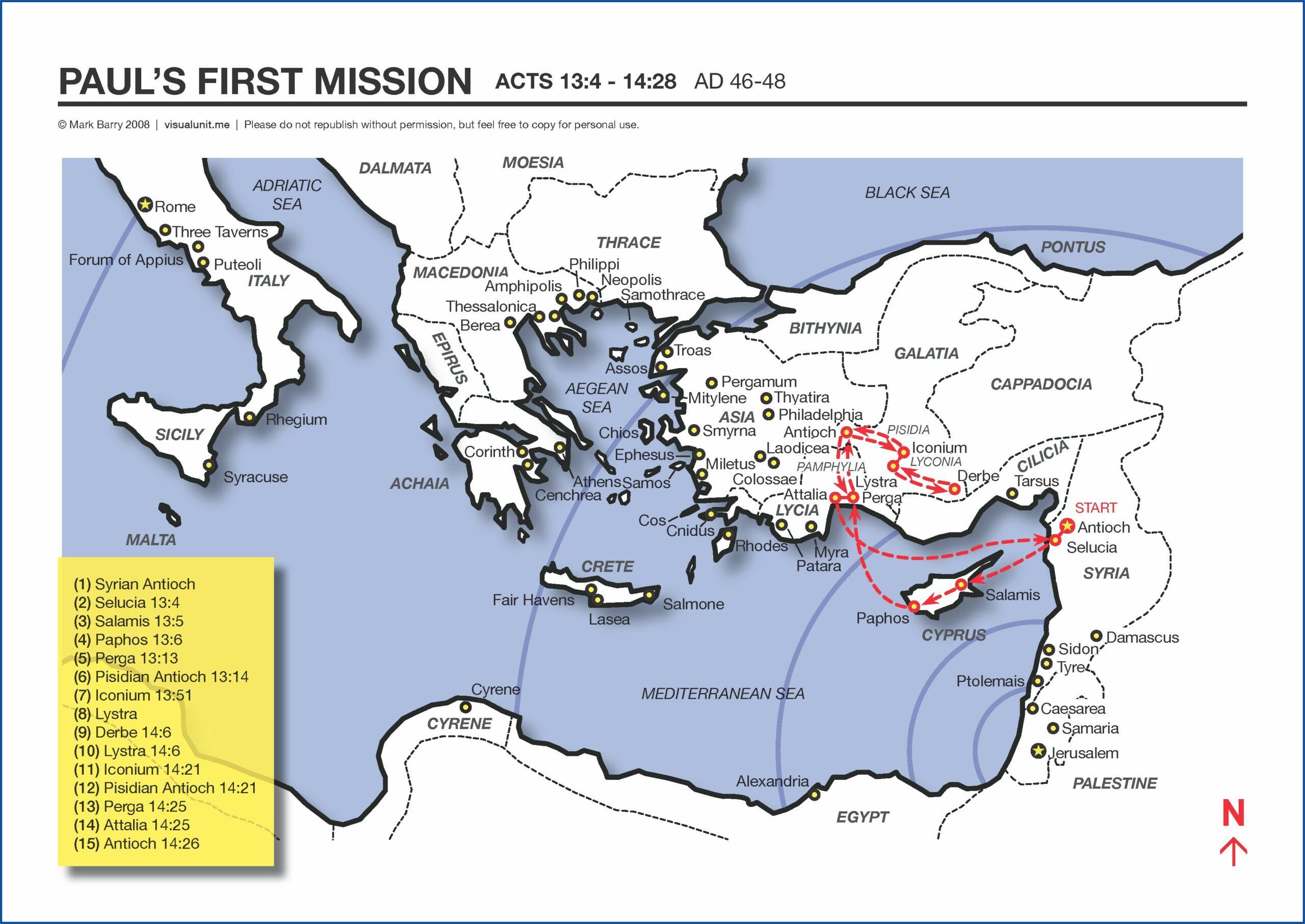 Paul's 1st Missionary Journey Timeline