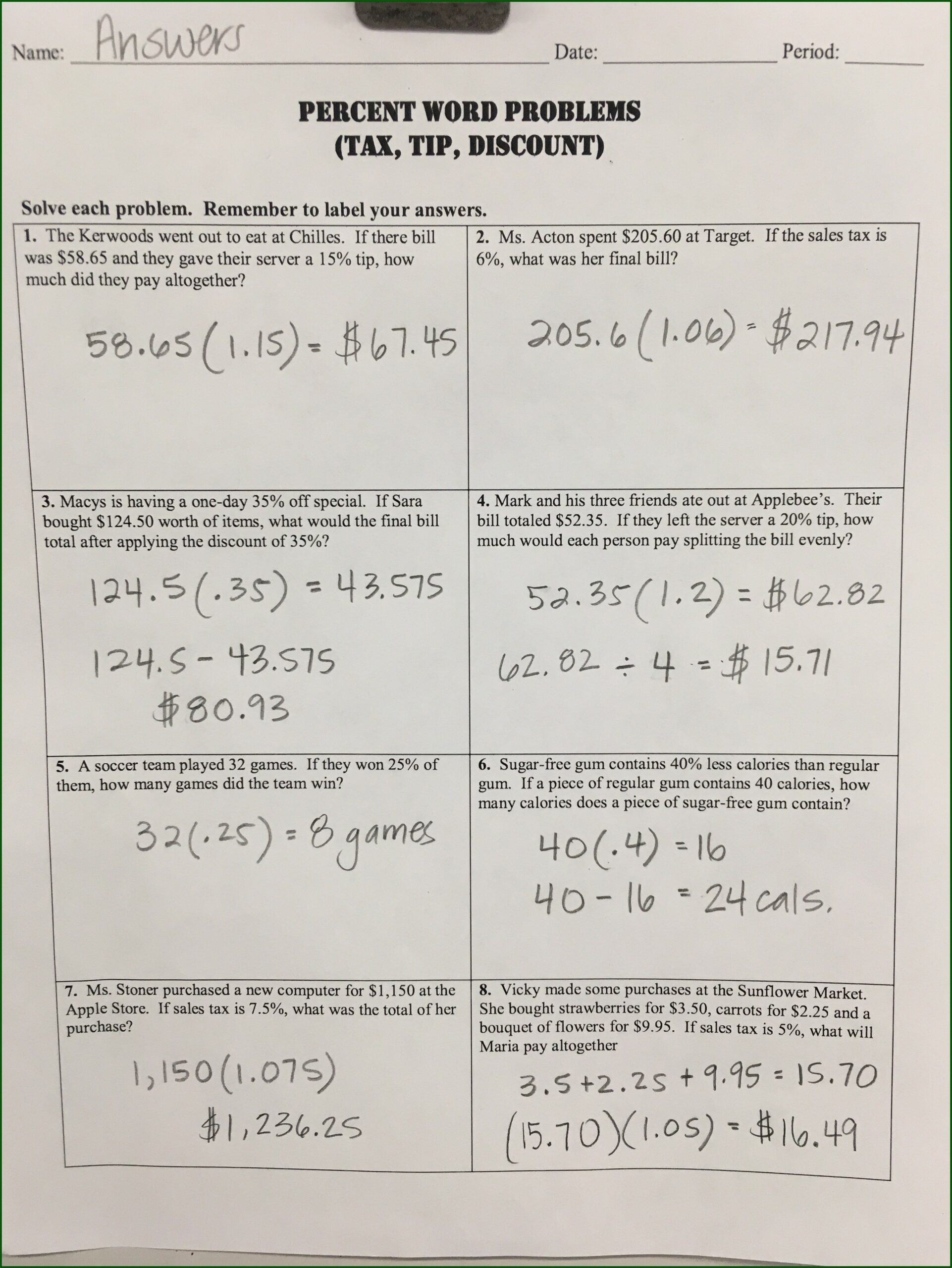 Percent Discount Word Problems Worksheet With Answers